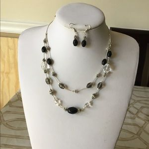 Black and clear glass bead necklace earring set